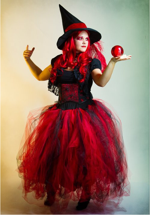 Full shot red witch contact juggler