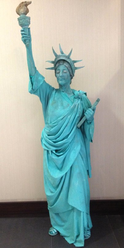 The human statue of liberty