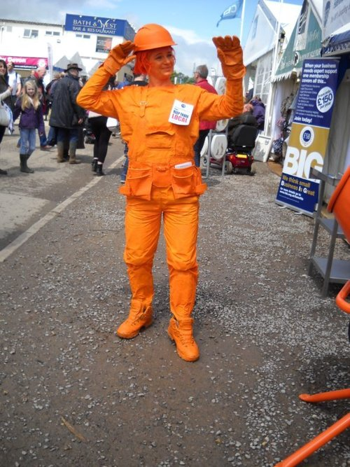 Orange workwear statue
