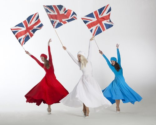 red, white & blue dancers with union flags