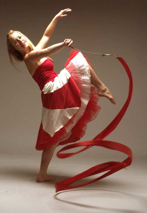 solo red and white candy stripe ribbon dancer