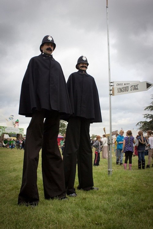 Victorian Policemen on stilts