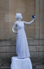 white classical living statue