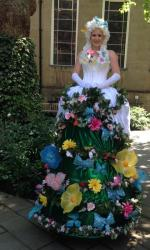 Flower Lady stiltwalker - outdoor shot