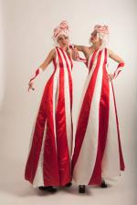 red stripes stilt duo leaning
