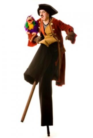 Stilt walking Pirate with wooden leg
