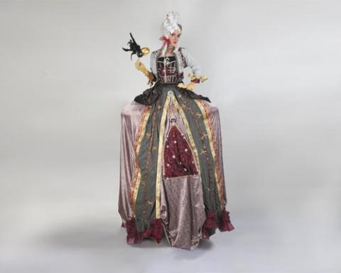 georgian wig stiltwalker red and gold dress
